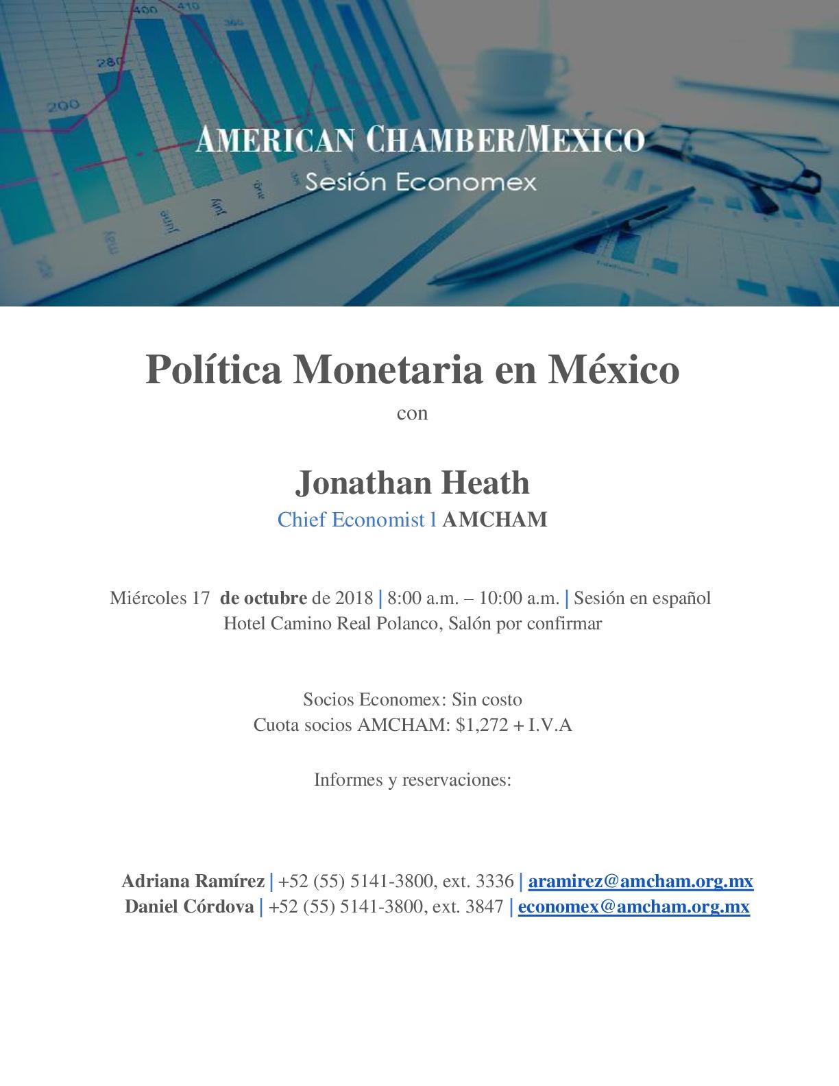 Sesión Economex: Política Monetaria en México 17/10/18