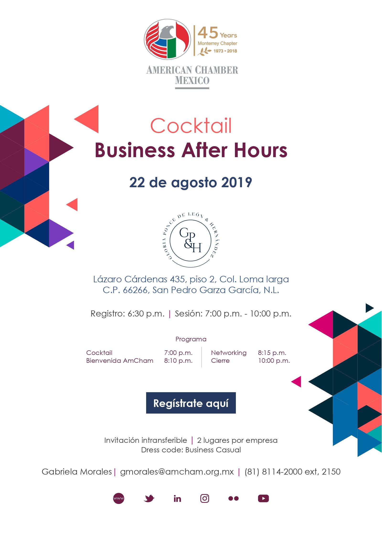 MTY Cocktail Business After Hours patrocinador por Gloria Ponce de León & Hernández