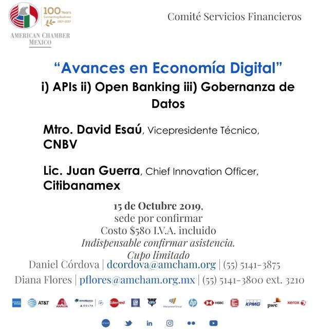 """Sesión Comité de Servicios Financieros: """"Avances en Economía Digital"""""""