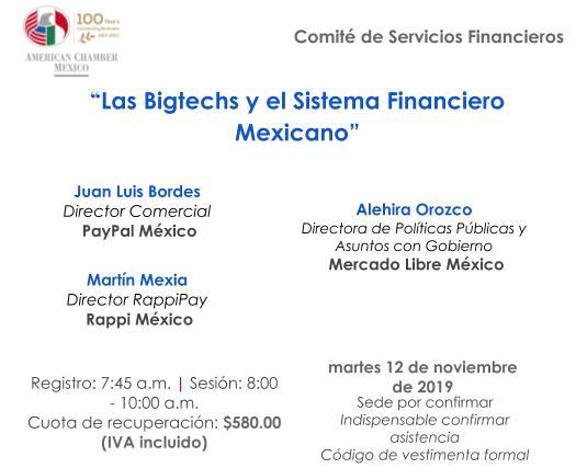 """Sesión Comité de Servicios Financieros: """"Las Bigtechs y el Sistema Financiero Mexicano"""""""