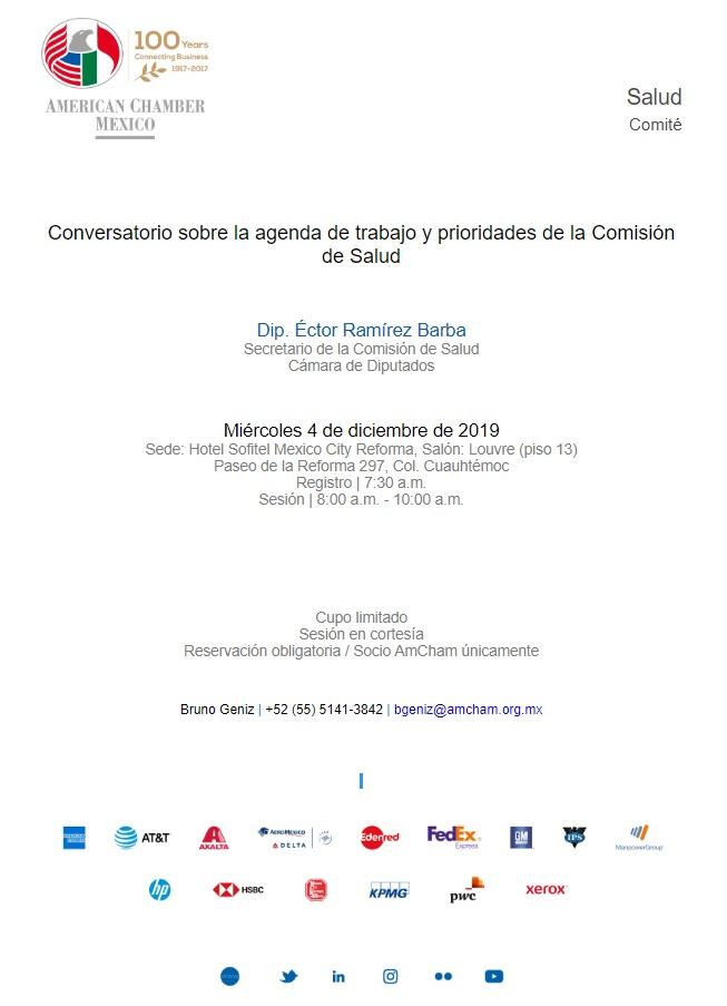 Conversatorio sobre la agenda de trabajo y prioridades de la Comisión de Salud