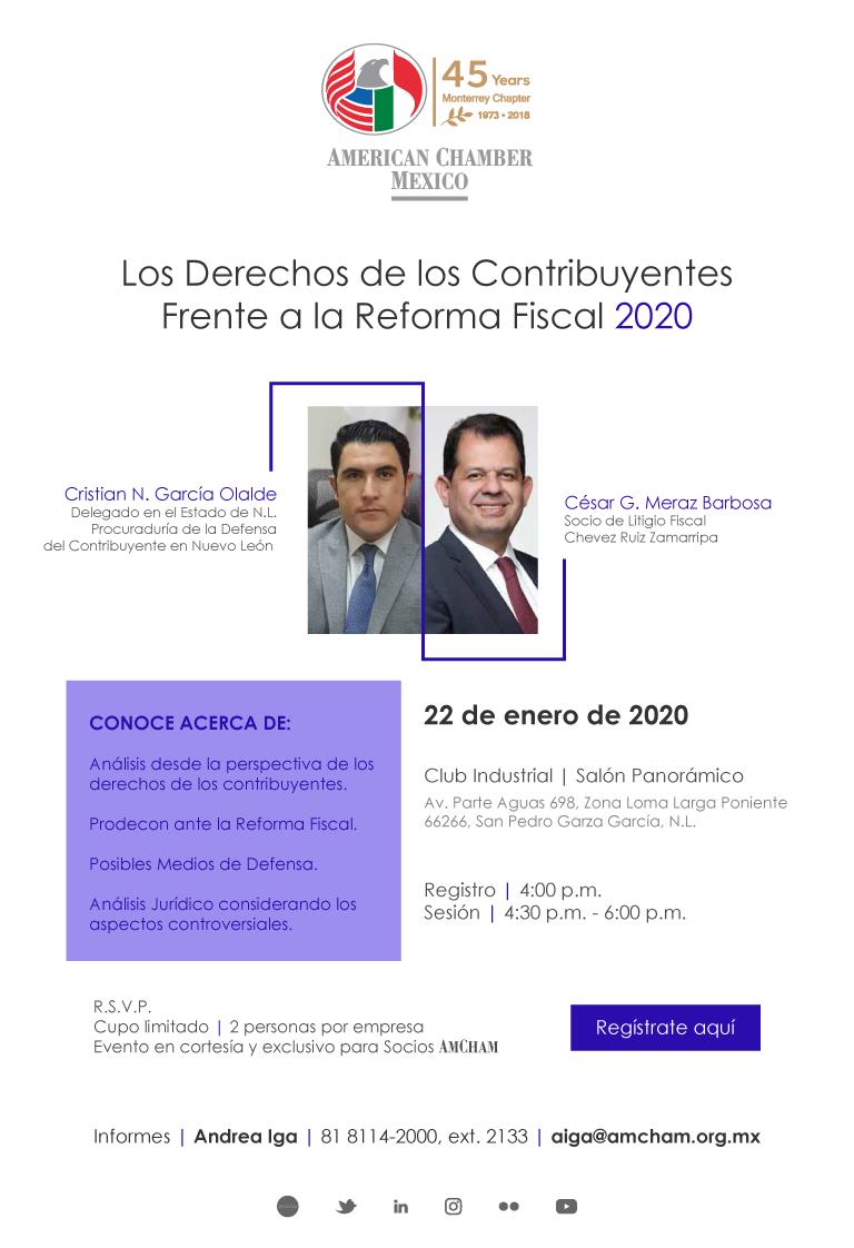 """MTY - Panel """"Los Derechos de los Contribuyentes ante la Reforma Fiscal 2020"""""""
