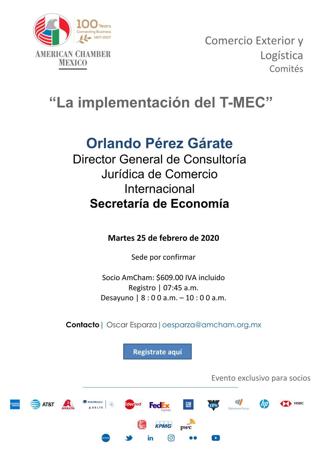"""Sesión del Comité de Comercio Exterior y Logística: """"Implementación del T-MEC"""""""